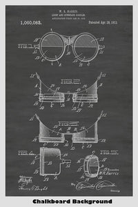 Steampunk Light and Sunshade Aviation Goggles Patent Print Art Poster