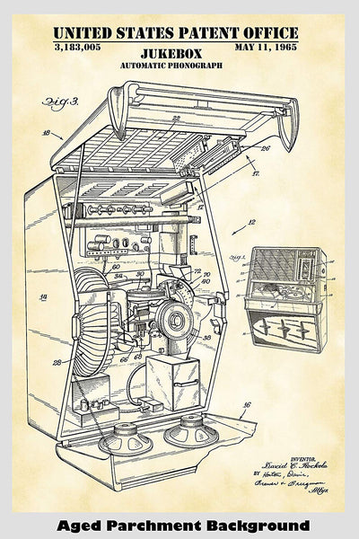 Rock Ola Jukebox Patent Print Art Poster