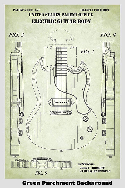 Gibson Electric Guitar Patent Print Art Poster