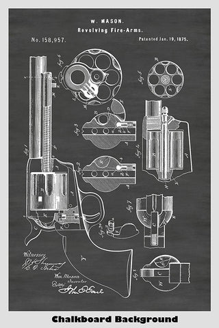 Old West Colt Peacemaker Revolver Gun Patent Print Art Poster