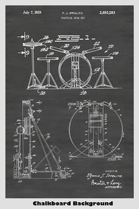Drum Kit Patent Print Art Poster