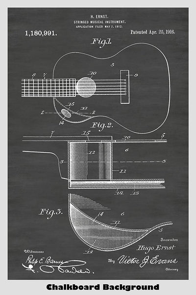 Acoustic Guitar Patent Print by Hugo Ernst