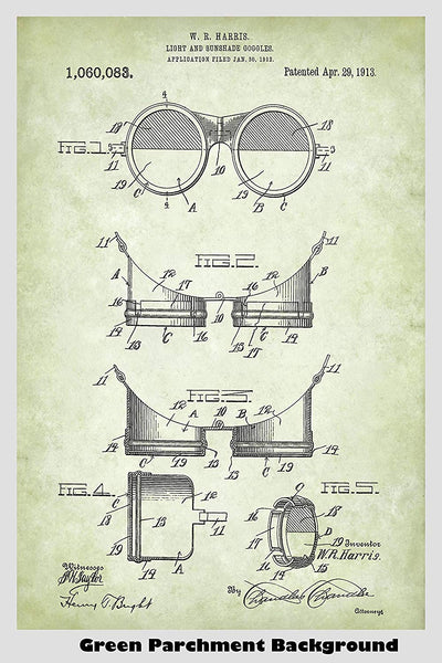 Steampunk Aviation Goggles Patent Print Art Poster