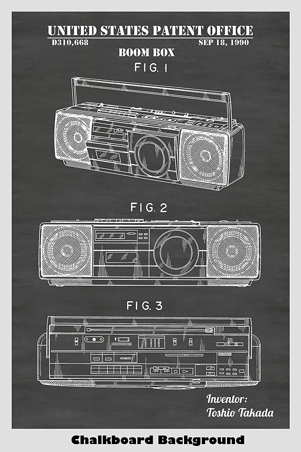Combined Radio, Cassette Tape Recorder and Digital Audio Disk Player Boom Box Patent Art