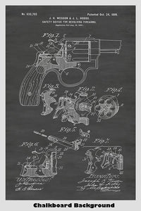 Smith And Wesson Revolver Patent Print Art Poster