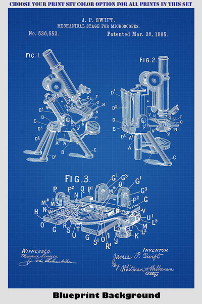 Vintage Microscope Patent Print Art Posters Wall Decor Collection