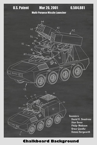 Missile Launcher Patent Print Art Poster