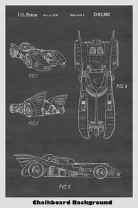 Batman's Batmobile Patent Print on a chalkboard background