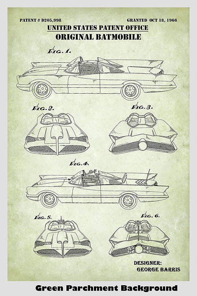 Original Batman Batmobile Patent Print Art Poster