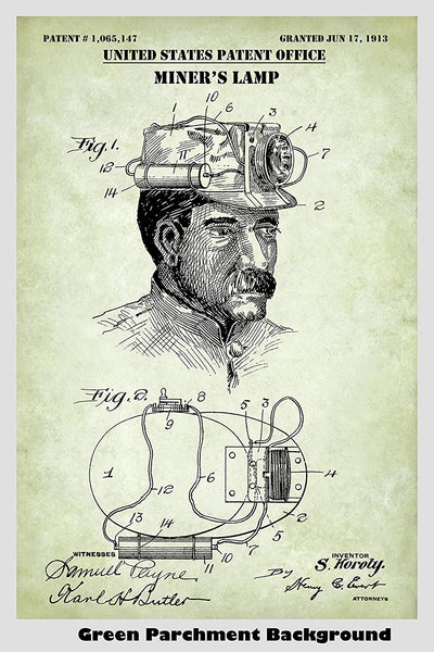 Antique Miner's Lamp Patent Print Art Poster
