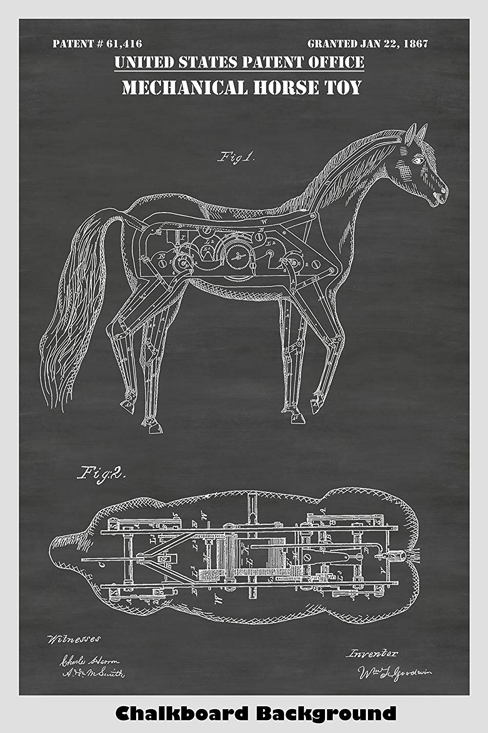 Mechanical Horse Poster Patent Print Art Poster