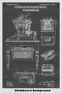 Victorian era typewriter patent with integrated typing desk on a chalkboard background poster.