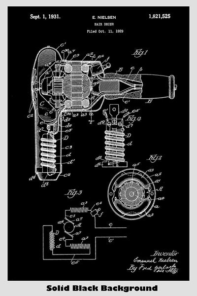 Hair Blow Dryer Patent Print Art Poster