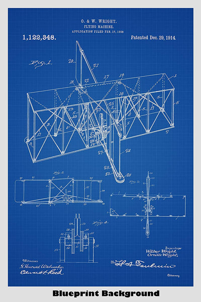 Early Wright Brothers Airplane/Flying Machine Patent Print Art Poster