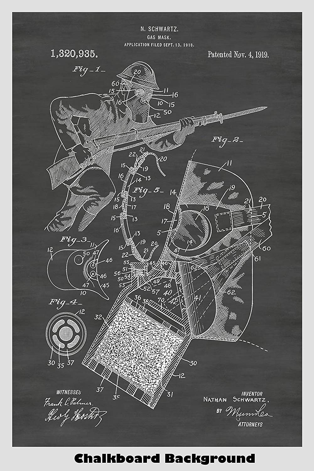WWI Era Gas Mask Patent Print Art Poster