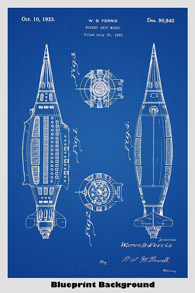 Steampunk Rocket Ship Patent Print Art Poster
