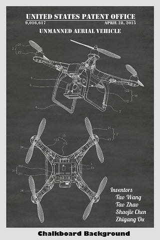 Phantom Quadcopter Drone With Camera Patent Print Art Poster