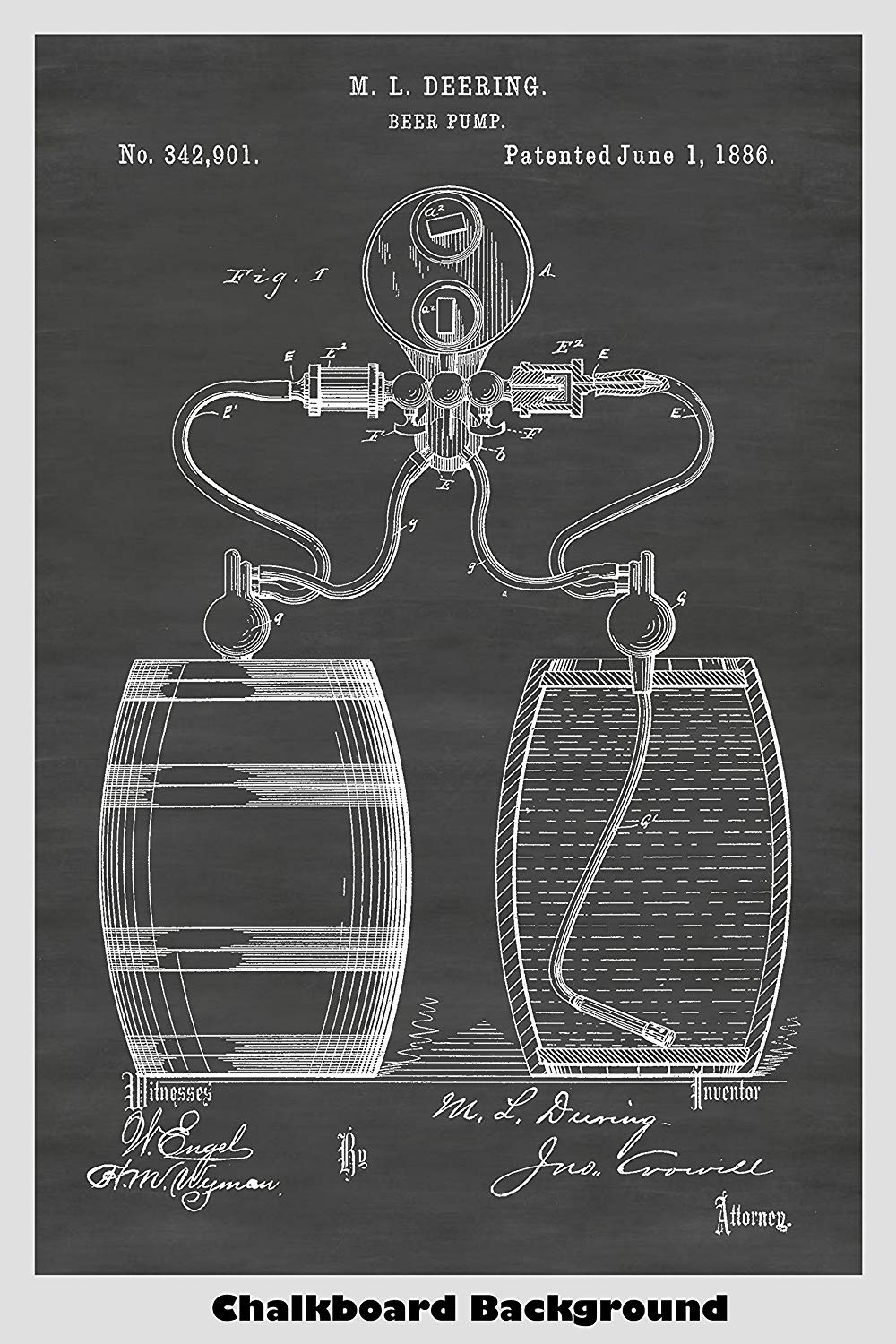 Antique Beer Pump Patent Print In Chalkboard