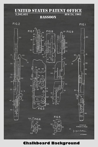 Bassoon Patent Print Design Poster In Chalkboard Background