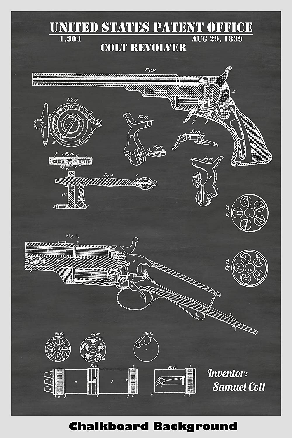 Early 1800's Samuel Colt Revolver Patent Print Shown in Chalkboard Background