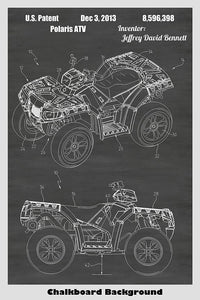 Polaris Four Wheeler All Terrain Vehicle ATV Patent Print Art Poster