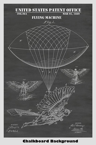 Victorian Steampunk Flying Machine Patent Print Art Poster