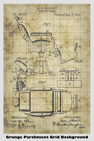 Barber's Chair Patent Print Art Poster