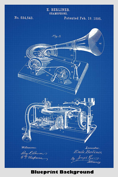Gramophone Record Player Patent Print Art Poster