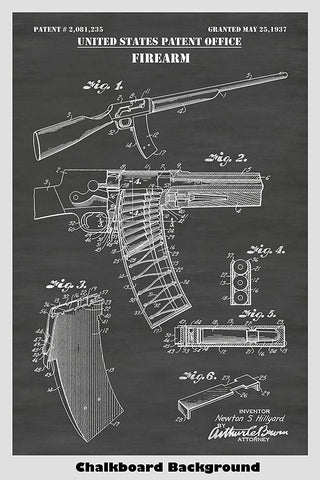Remington Police Model 8 Rifle Revolver Patent Print Art Poster