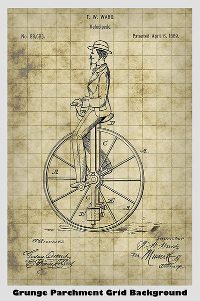 Antique Unicycle Patent Print Art Poster