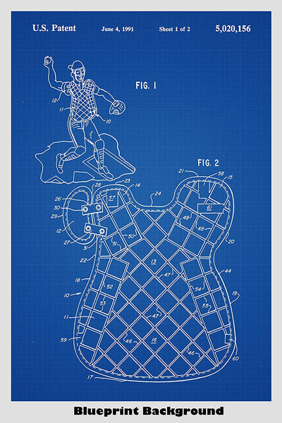 Baseball Catcher Chest Protector Patent Print Art Poster