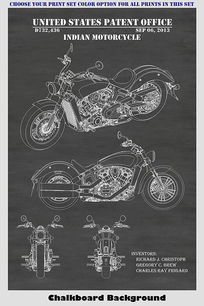 Vintage & Modern Indian Motorcycle Patent Print Art Posters Wall Decor Collection