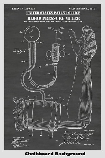 Antique Blood Pressure Cuff & Meter Patent Print Art