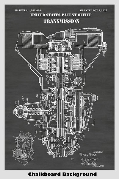 1927 Ford Motors Automobile Transmission Patent Poster