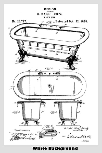 Antique Claw Bathtub Patent Print Art Poster