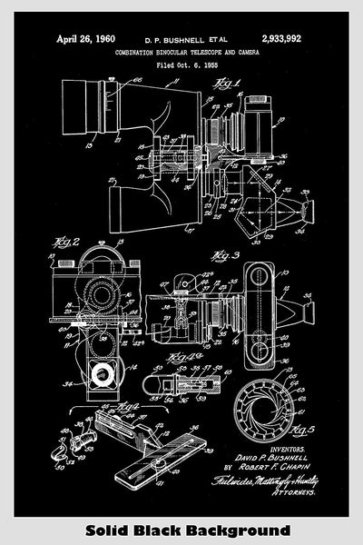 Binocular Telescope With Attached Camera Patent Print Art Poster