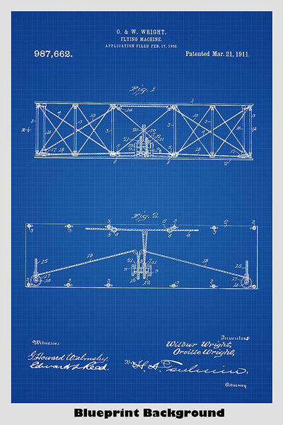 Vintage Wright Brothers Airplane Patent Print Art Poster