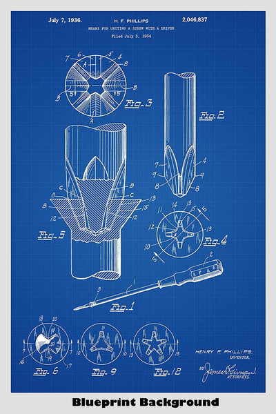 Phillips Screwdriver Patent Print Art Poster