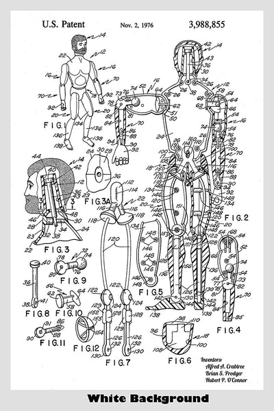 GI Joe Action Poseable Figure Toy Patent Print Art Poster