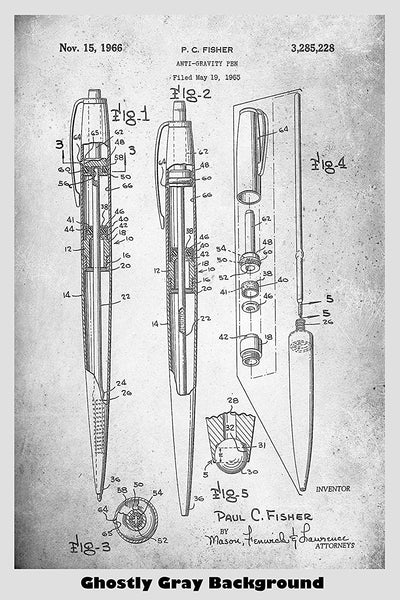Fisher Anti Gravity Space Pen Patent Print Art Poster