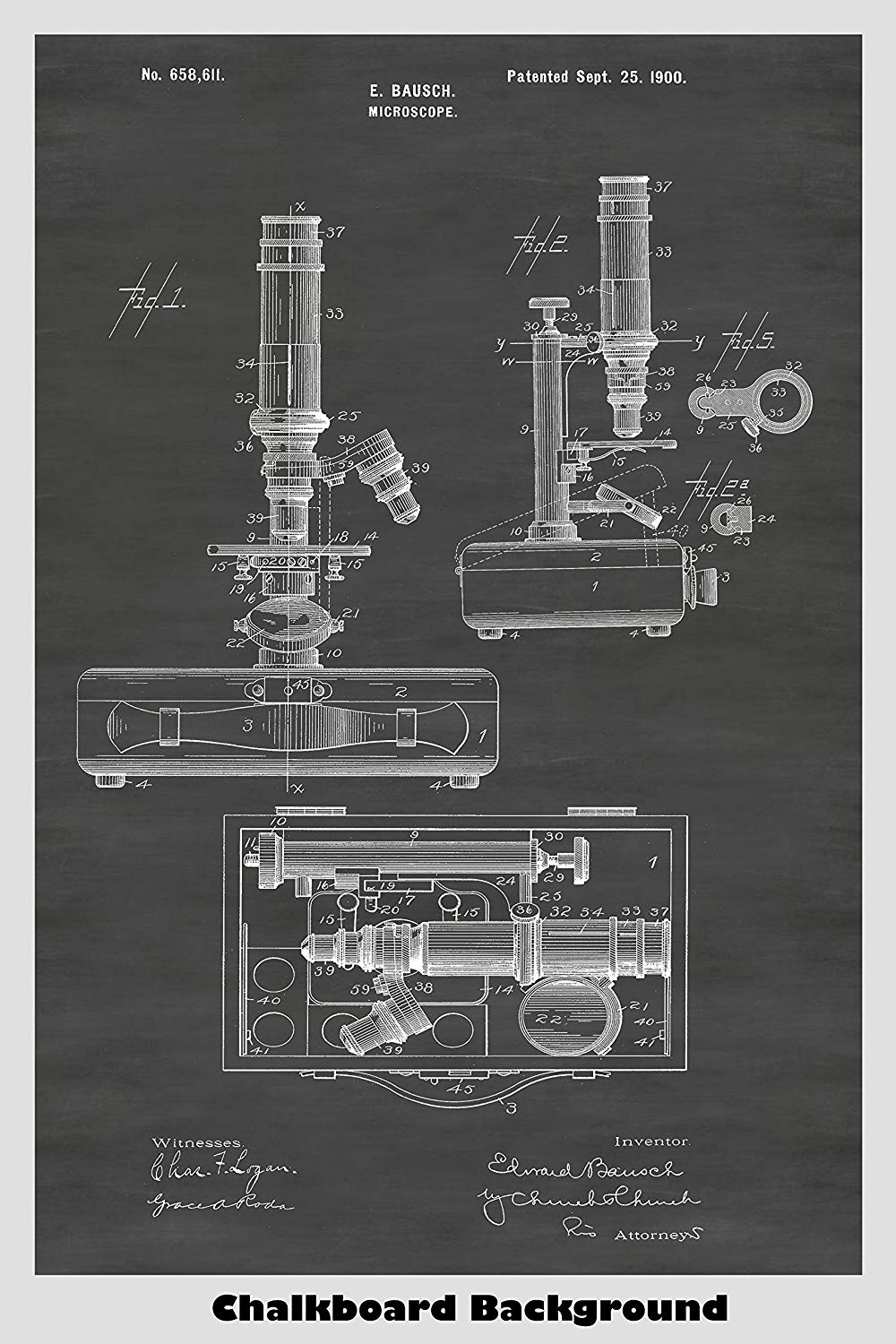 Antique Bausch Microscope Patent Art on Our Chalkboard Background