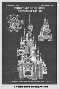 Disney Princess Castle Patent Print Art Poster