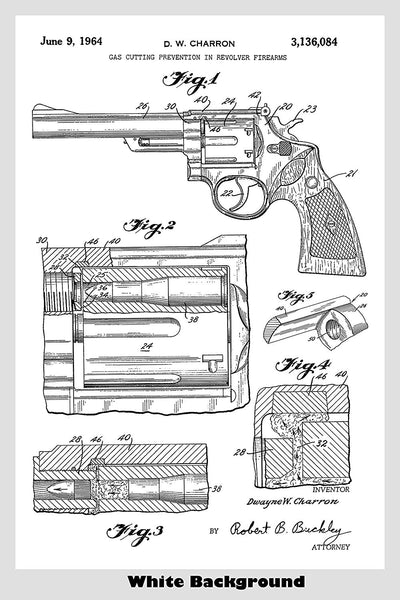 Smith & Wesson Revolver Patent Print Art Poster