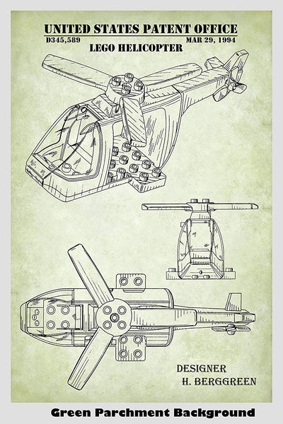 Lego Helicopter Patent Print Art Poster