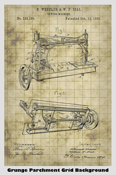 Vintage Sewing Machine Patent Print Art Poster
