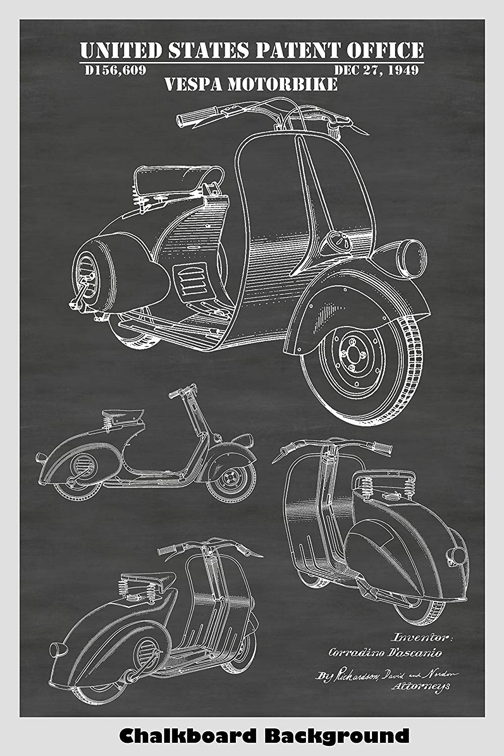 Vespa Scooter/Motor Bicycle Patent Print Art Poster