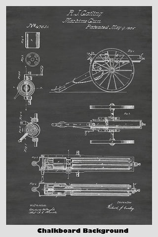 Mounted And Improved Gatling Machine Gun Patent Print Art Poster