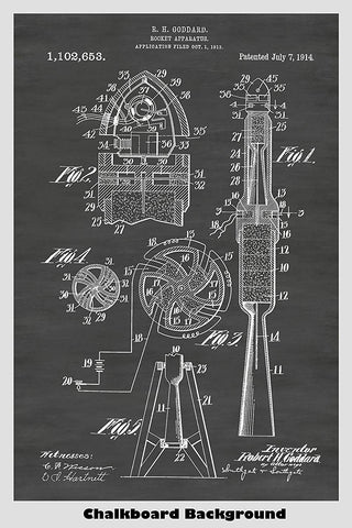 Robert Goddard Designed Rocket Ship Patent Print Art Poster