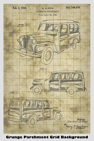 Jeep Willys Station Wagon Patent Print Art Poster