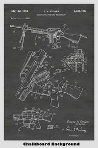 Ar15/M16 Automatic Machine Gun Ammunition Feeder Patent Print Art